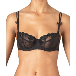 Fleurs de Pommier 3/4 Cup Balconette Bra by Aubade Paris - Color: Black